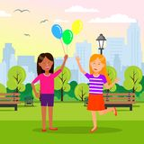 De glimlachende Meisjes houden Ballons in Handen bij Stadspark stock illustratie