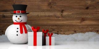 De glimlachende sneeuwman sneeuwde houten achtergrond en giften, exemplaarruimte, banner, 3d illustratie vector illustratie