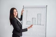 De glimlachende vrouw die in zwart jasje op grote document grafiek met teller in bureau schrijven en stelt het diagram voor royalty-vrije stock afbeelding