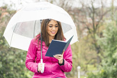 De glimlachende vrouw met paraplu leest boek in het park stock fotografie