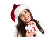 De glimlachende vrouw van Kerstmis royalty-vrije stock foto's