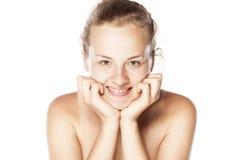 De glimlachende vrouw zonder maakt omhoog royalty-vrije stock fotografie