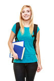 De glimlachende vrouwelijke student van het tienermeisje met boeken royalty-vrije stock foto