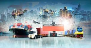 De globaal achtergrond van de bedrijfslogistiekinvoer-uitvoer en de vrachtschip van de containerlading stock illustratie