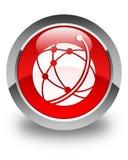 De globale glanzende rode ronde knoop van het netwerkpictogram Stock Afbeelding