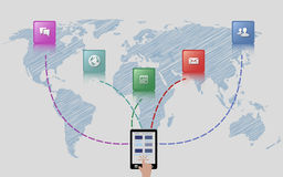 De globale Illustratie van het Elektronische handelconcept Royalty-vrije Stock Afbeelding
