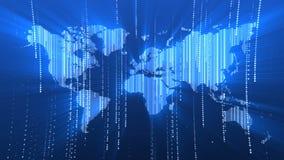 De globale kaart van de technologiewereld, vlakke Aarde, 3d bol worldmap pictogram, geeft backgroung terug stock footage