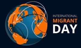 De globale migrerende banner van het dagconcept, beeldverhaalstijl stock illustratie