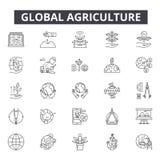 De globale pictogrammen van de landbouwlijn voor Web en mobiel ontwerp De tekens van de Editableslag Het globale concept van het  stock illustratie