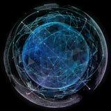 De globale technologieën van netwerkinternet Digitale wereldkaart Stock Fotografie