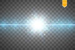 De gloed isoleerde blauw transparant effect, lensgloed, explosie, schittert, lijn, zonflits, vonk en sterren voor royalty-vrije illustratie