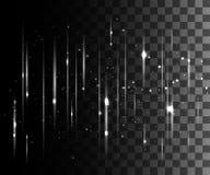 De gloed isoleerde wit transparant effect, lensgloed, explosie, schittert, lijn, zonflits, vonk en sterren Voor illustratie templ stock illustratie