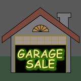 De gloed van de garage sale optdrk Stock Foto