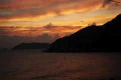De gloed van de zonsondergang Stock Foto