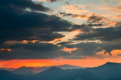 De gloed van de zonsondergang Stock Foto's