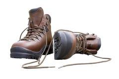 De gloednieuwe Laarzen van de Wandeling die op Wit worden geïsoleerdn Stock Foto's