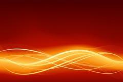 De gloeiende abstracte golfachtergrond in vlammend rood gaat Stock Foto's