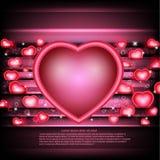 De gloeiende achtergrond van de valentijnskaartendag met harten en hartkader in centrum Royalty-vrije Stock Foto's
