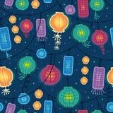 De gloeiende achtergrond van het lantaarns naadloze patroon royalty-vrije illustratie