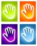 De gloeiende Achtergronden van het Aura Handprint Stock Afbeeldingen