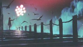 De gloeiende ballon die van de vrouwenholding zich op de brug bevinden stock illustratie