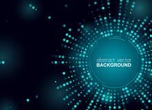 De gloeiende halftone punten omcirkelen glanzend blauw ontwerp voor club, partij, tonen uitnodiging Abstracte neonlichtenachtergr stock illustratie