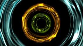 De gloeiende kleurrijke ring omcirkelt videoanimatie stock videobeelden