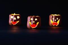 De gloeiende pompoen van Halloween Stock Afbeeldingen
