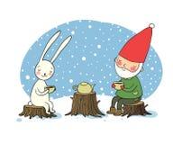 De gnoom en de hazen drinken thee in het boself en konijn op een picknick royalty-vrije illustratie