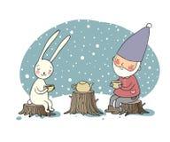 De gnoom en de hazen drinken thee in het boself en konijn op een picknick stock illustratie