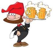 De gnoom van de kelner met bier Stock Foto's