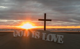 De god is 3D Liefde Stock Foto
