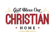 De god zegent Ons Christian Home Stock Illustratie
