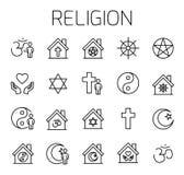 De godsdienst bracht vectorpictogramreeks met elkaar in verband stock illustratie