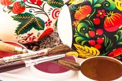 Godsdienstige paasei geschilderde waterverf Stock Foto's