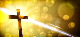 De godsdienstige illustratie met backlit kruis met gouden schittert stock afbeelding