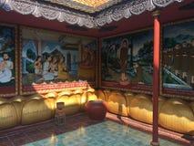 De godsdienstige kleurrijke 3 dimensionale overblijfselen op de muren van Wat Preah Prom Rath Temple in Siem oogsten, Kambodja Stock Afbeelding