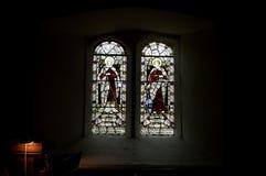 De godsdienstige vensters van het vlekglas, Kerstkaart Royalty-vrije Stock Foto's