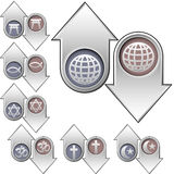 De godsdienstsymbolen van de wereld boven en beneden pijlen Royalty-vrije Stock Foto's
