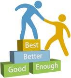 De goede betere beste voltooiing van hulpmensen stock illustratie