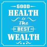 De goede Gezondheid is de Beste Rijkdom Royalty-vrije Stock Fotografie