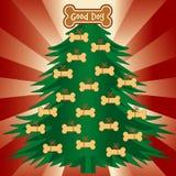 De goede Kerstboom van de Hond Stock Afbeeldingen