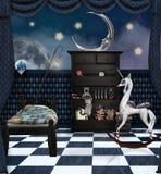 De goede nachtruimte in een surreal stijl royalty-vrije illustratie