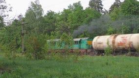 De goederentrein beweegt zich langs het bos