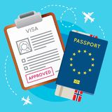 De Goedgekeurde Zegel van eurozoneeuropa Visum op Document Paspoort met het Kaartje van Vluchtvliegtuigen royalty-vrije illustratie