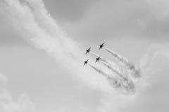 De Golden Eagles van ROKAF t-50 in vorming Stock Foto