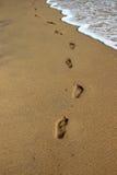 De golf reinigt voetafdrukken op het zand stock afbeeldingen