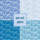 De golf van de waterverfgradiënt krult naadloze reeks patronen vector illustratie