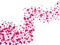 De golf van hartenconfettien De liefdestroom, verspreidende confettien bespat stroom en glamour de romantische vector van hartval vector illustratie
