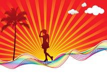 De golfachtergrond van de regenboog met meisje Stock Foto's